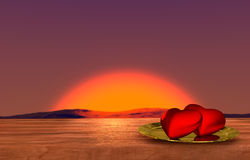 Tabela de madeira romântica com por do sol do mar no fundo Foto de Stock
