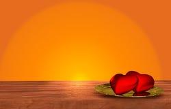 Tabela de madeira romântica no fundo alaranjado Fotografia de Stock Royalty Free