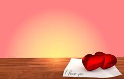 Tabela de madeira romântica no fundo cor-de-rosa Foto de Stock Royalty Free