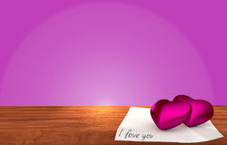Tabela de madeira romântica no fundo roxo Imagens de Stock Royalty Free