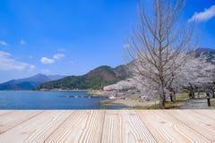 Tabela de madeira vazia com fundo cor-de-rosa bonito da flor da flor de cerejeira na esta??o de mola, no kawaguchiko do lago, Yam fotografia de stock royalty free