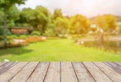 Tabela de madeira vazia com o parque borrado do jardim foto de stock royalty free