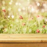 Tabela de madeira vazia da plataforma sobre o fundo do bokeh das flores para a exposição da montagem do produto Estação de verão Fotografia de Stock Royalty Free