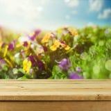 Tabela de madeira vazia da plataforma sobre o fundo do bokeh das flores para a exposição da montagem do produto Mola ou temporada Fotos de Stock