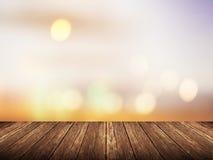 Tabela de madeira vazia sobre o por do sol borrado com fundo do bokeh Fotos de Stock