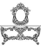 Tabela de molho barroco excelente gravada Estrutura ornamented intrincada rica luxuosa francesa do vetor Real vitoriano Fotografia de Stock Royalty Free