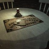 Tabela de Ouija em uma sala escura ilustração stock