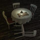Tabela de Ouija em uma sala escura ilustração do vetor