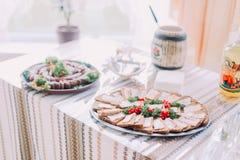 Tabela de petiscos saborosos diferentes, servida no estilo rurral do slavic do leste tradicional, close-up com fundo borrado Fotografia de Stock Royalty Free