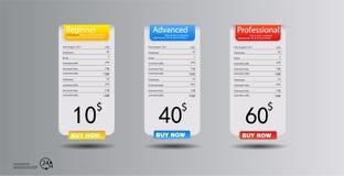 A tabela de preços, hospedando planos e bandeiras das caixas da Web projeta Três tarifas relação para o local bandeira do vetor d ilustração royalty free