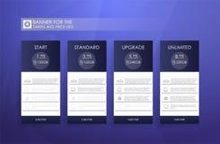 Tabela de preços para hospedar, bandeira para as tarifas e tabelas de preços Elementos do Web ilustração do vetor