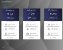 Tabela de preços para hospedar, bandeira para as tarifas e tabelas de preços Elementos do Web ilustração stock