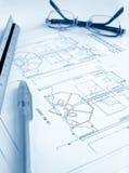 Tabela de trabalho do arquiteto imagem de stock royalty free