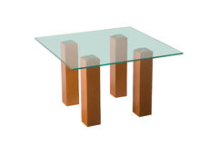 Tabela de vidro do café isolada Imagens de Stock Royalty Free