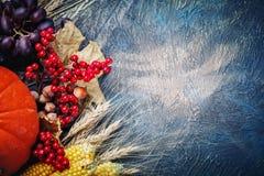 A tabela, decorada com vegetais e frutos Festival da colheita, ação de graças feliz Fotografia de Stock Royalty Free