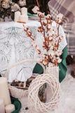Tabela do casamento do inverno fotografia de stock royalty free