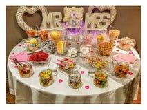 Tabela do doce do banquete de casamento Imagens de Stock Royalty Free