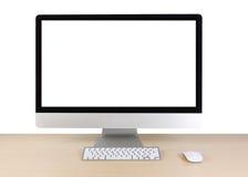 Tabela do escritório para negócios com computador, teclado e rato Fotografia de Stock