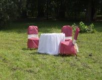 Tabela do feriado com as cadeiras na natureza Fotografia de Stock