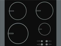 Tabela do fogão de indução para a cozinha ilustração stock