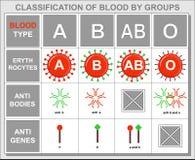 Tabela do fundo sobre a hematologia, tipo de sangue imagem de stock