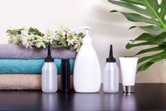 A tabela do gel do desodorizante do cabelo da pintura de toalha do tubo do distribuidor do pulverizador sae monstera verde da gri foto de stock
