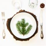 A tabela do Natal ajustou-se com dishware, a pratas e inverno brancos, decorações rústicas no fundo branco Vista superior imagens de stock royalty free