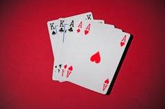 Tabela do póquer com casa cheia Foto de Stock