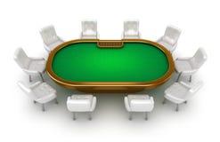 Tabela do póquer com opinião superior das cadeiras Fotografia de Stock Royalty Free