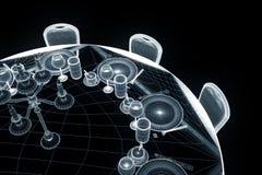 Tabela do partido da conferência com as microplaquetas no estilo de Wireframe do holograma Rendição 3D agradável Fotografia de Stock