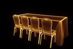 Tabela do partido da conferência com as microplaquetas no estilo de Wireframe do holograma Rendição 3D agradável Foto de Stock Royalty Free
