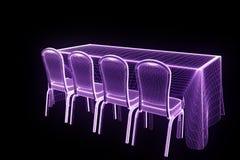 Tabela do partido da conferência com as microplaquetas no estilo de Wireframe do holograma Rendição 3D agradável Imagens de Stock Royalty Free