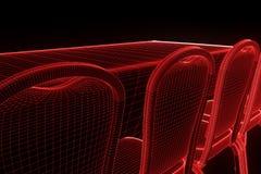 Tabela do partido da conferência com as microplaquetas no estilo de Wireframe do holograma Rendição 3D agradável Imagens de Stock