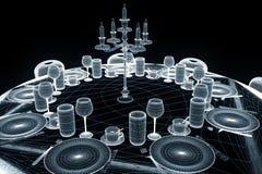 Tabela do partido da conferência com as microplaquetas no estilo de Wireframe do holograma Rendição 3D agradável Fotos de Stock Royalty Free