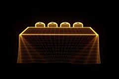 Tabela do partido da conferência com as microplaquetas no estilo de Wireframe do holograma Rendição 3D agradável Fotos de Stock
