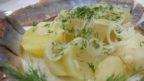 A tabela do servidor em uma placa salgou os peixes polvilhados com os verdes no restaurante Alimento delicioso na tabela Arenques filme