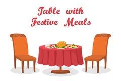 Tabela dos desenhos animados com a refeição, isolada Fotografia de Stock