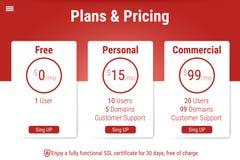 Tabela dos preços para hospedar Projeto da página ilustração do vetor