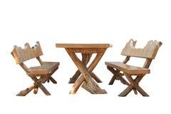 Tabela e banco de madeira. fotos de stock royalty free