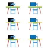 Tabela e cadeira azul com ilustração do vetor do portátil fotografia de stock