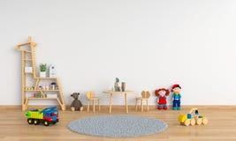 Tabela e cadeira na sala de criança branca para o modelo, rendição 3D fotos de stock