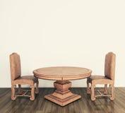 Tabela e cadeiras clássicas interiores Fotos de Stock Royalty Free