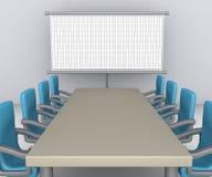 Tabela e cadeiras como a preparação da reunião Imagens de Stock