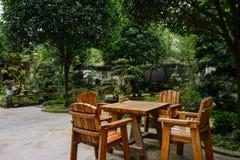 Tabela e cadeiras de madeira na jarda verdejante no dia de verão imagem de stock royalty free