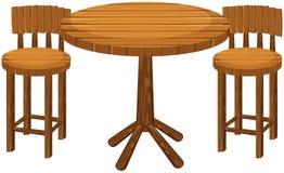 Tabela e cadeiras de madeira redondas ilustração do vetor
