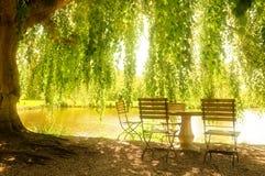 Tabela e cadeiras de pedra ao lado de uma lagoa Imagem de Stock