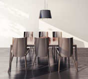 Tabela e cadeiras interiores modernas Fotos de Stock