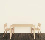 Tabela e cadeiras interiores modernas Fotografia de Stock