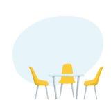 Tabela e cadeiras modernas ilustração stock