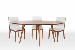 Tabela e cadeiras modernas de madeira Foto de Stock